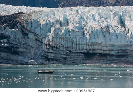 Tiny Boat And Glacier