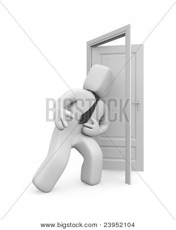 Kicking down shoulder of the door. Overcoming barriers. Image contain clipping path
