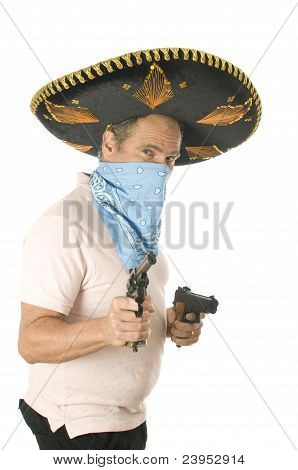 Middle Age Senior Tourist Male Wearing Mexican Somebrero Hat Cowboy Bandana  Hand Gun Pistols