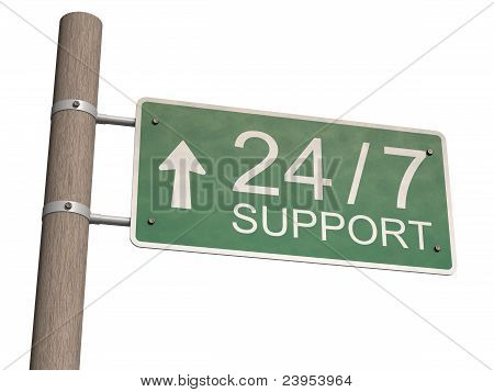 Customer Support Sign. Isolated On The White Background