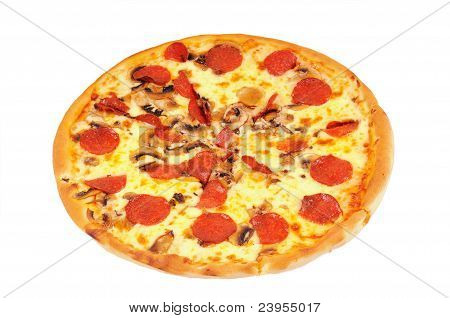 A pizza  with  pepperoni