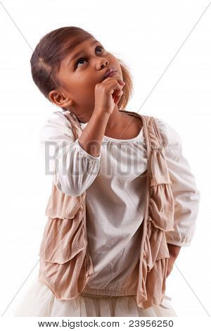 Cute Little African Asian Girl Thinking ,isolated On White Background