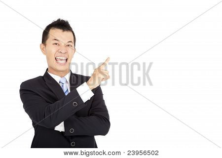 laughing businessman pointing and