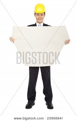 smiling asian architects holding a set of building plans isolated on a white background