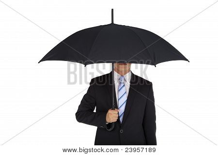 businessman holding black umbrella Isolated on white background