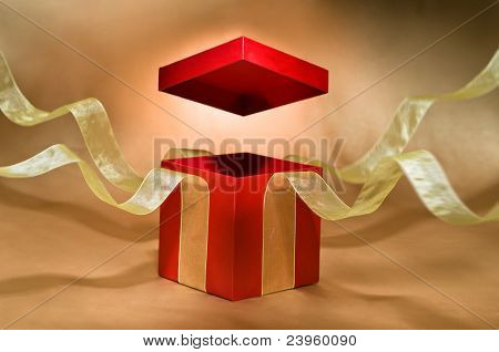 Red Present Box With Open Cover