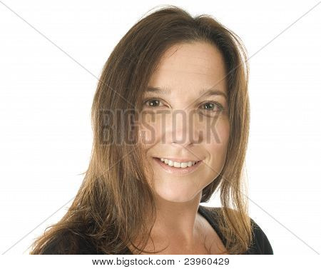 Cute Middle Age Woman Head Shot Studio Portrait