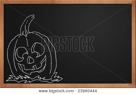 Halloween Pumpkin Smiling On A Black Chalkboard