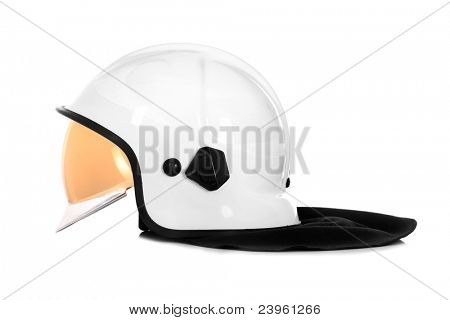 A picture of a white fire fighter helmet over white background