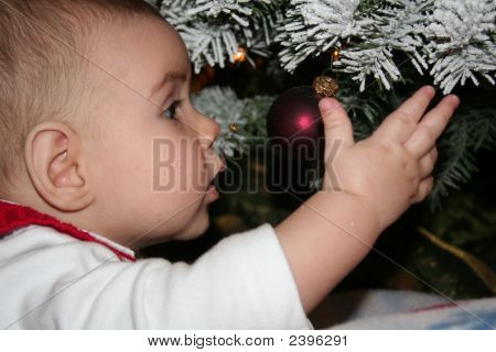 Baby Looking At A Christmas Ornament