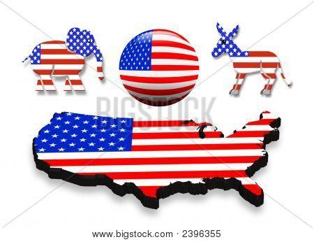3D Icons patrióticos para el día de las elecciones 2008