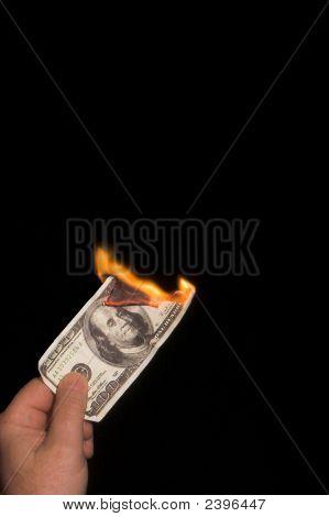 Burning 100 Dollar Bill