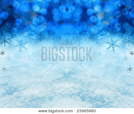 Festive Christmas snow background includes real snow in the bottom half of the image.