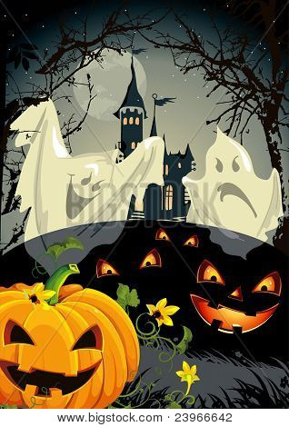 Halloween terrible illustration of a haunted house against a moonlight sky background. Abstract Vector autumn card with pumpkin and castle.