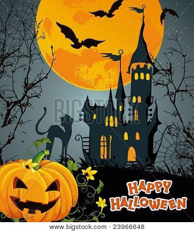 Halloween terrible Vector background with pumpkin and castle. Abstract Classical autumn card.