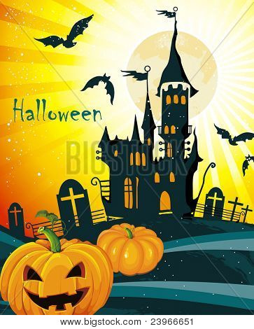 Halloween terrible Vector background. Abstract Classical autumn card with pumpkin and castle.