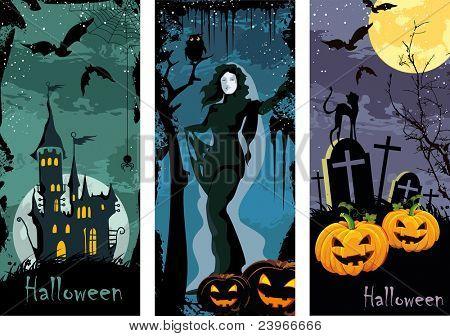 Halloween theme illustrations. Set vertical banners.