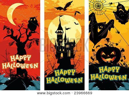 Set of vertical Halloween banners
