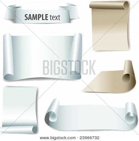 bland paper with page curl, set vector