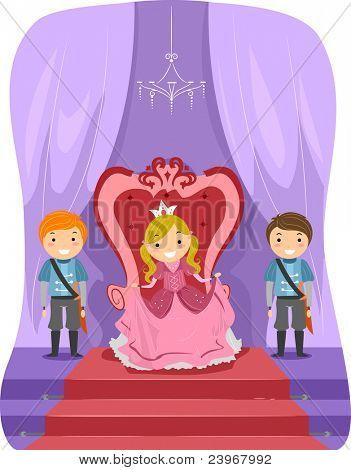 Ilustração de uma garota vestida como uma princesa
