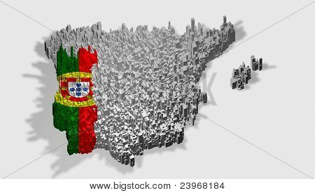 Portugal Boundary With Flag Mounted Over Blocks