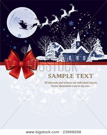 Santa's sleigh.  All elements and textures are individual objects. Vector illustration scale to any size.