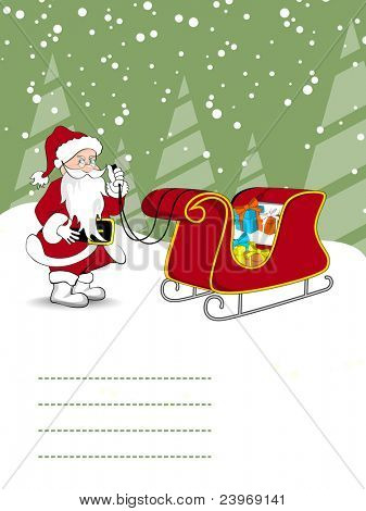 vector santa holding gifts trolly concept greeting card for merry christmas