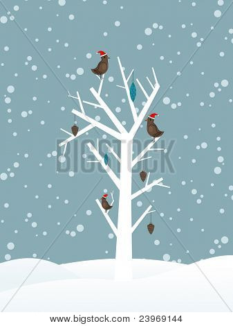 snow fall background with birds sitting on dry tree branch vector for merry christmas
