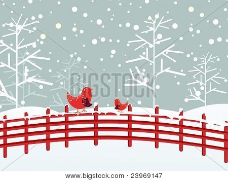 snow fall, dry tree background with cute birds sitting on fence