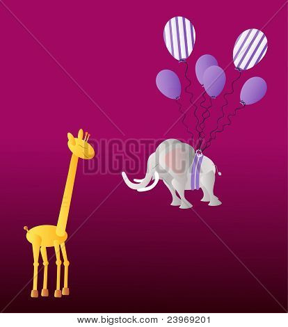 Giraffe and elephant with party balloons on the dark violet background