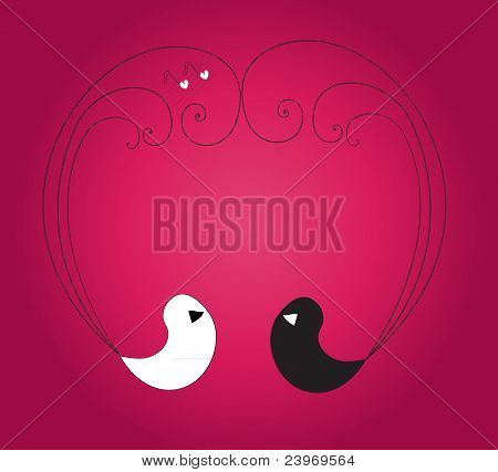 Two birds forming heart on the violet background