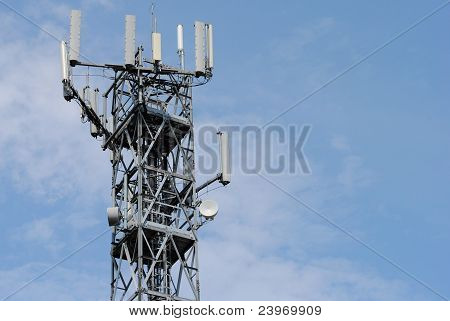 antenna tower with many booster sky background
