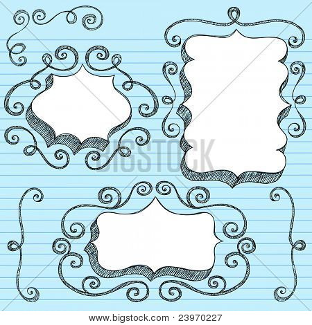Sketchy Doodle 3-D Shaped Ornate Comic Book Style Speech Bubble Frames with Swirls Edge Design- Back to School Notebook Doodles on Blue Lined Paper Background- Vector Illustration