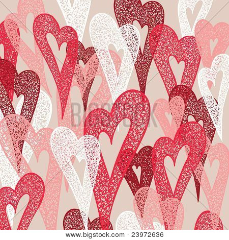 Background Of Colorful Hearts. Hand Drawn Illustration, Vector.