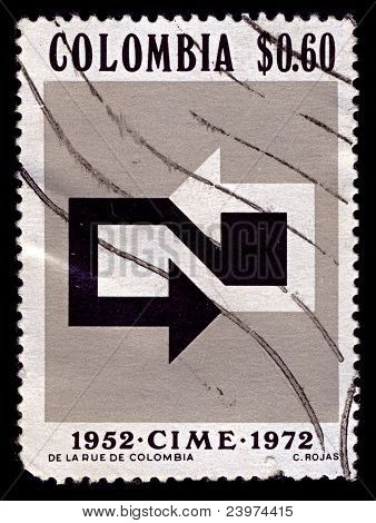 COLUMBIA-CIRCA 1972:A stamp printed in Colombia shows image of 20 years of International Committee for European emigration, circa 1972.