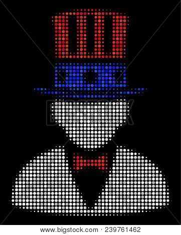 American Uncle Sam Halftone Vector