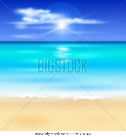 azure ocean, blue sky with white fluffy clouds, white sand deserted tropical beach -  illustration for a tourist theme. Bitmap copy my vector ID 64266379