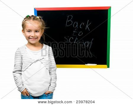 beautiful little girl on a board