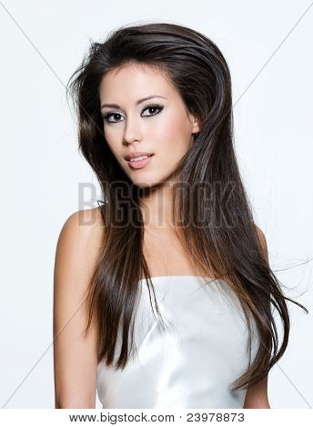 Sensual Woman With Beautiful Long Brown Hairs