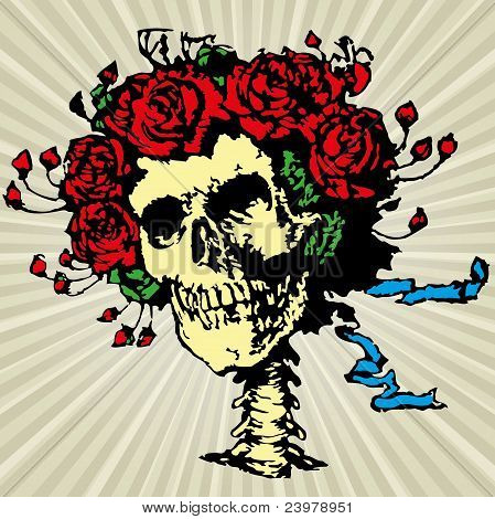 Skull in roses crown