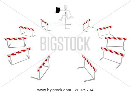 3D Business Man With Running Obstacles