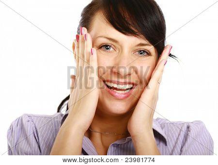 Amzed smiling woman isolated