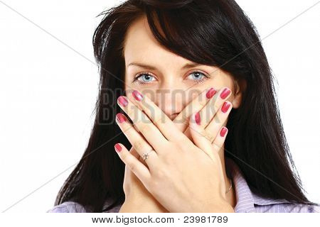 Young woman covering face with hands isolated