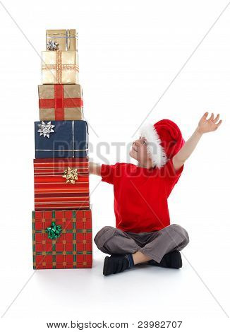 Young Child Rejoicing Over Presents