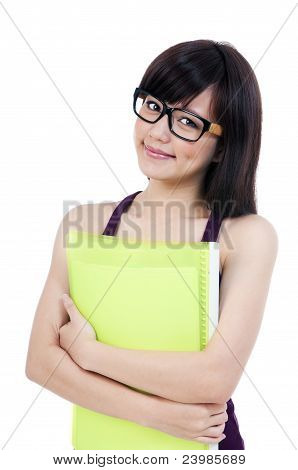 Cute Young Female Student Holding Her Folder