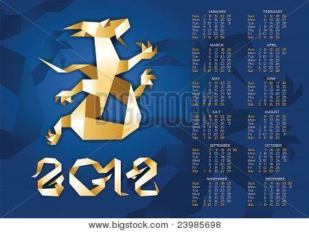 Calendar - Origami Dragon 2012 Year. 10Eps