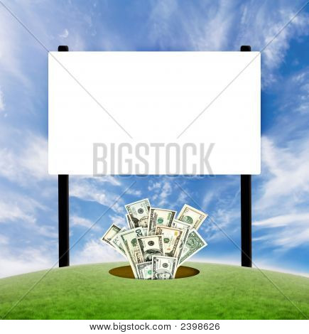 Billboard Blank Sign With Dollars Coming From The Ground