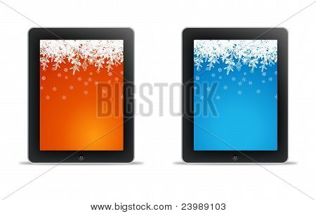 Tablet Computer With Christmas Wallpaper