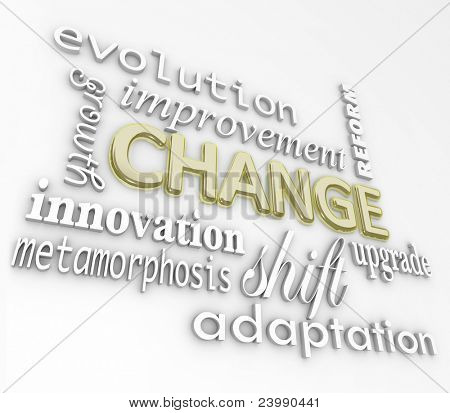 The word Change in gold 3D letters and other words that symbolize changing in order to achieve success such as evolution, growth, innovation, metamorphosis, reform, improvement, upgrade, and more