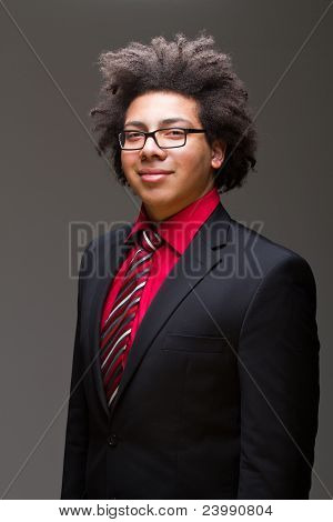Confident Young Teenager With Afro